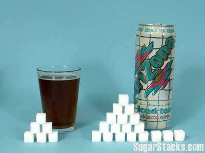 Arizona Iced Tea 24g in a serving, 72g in the can.
