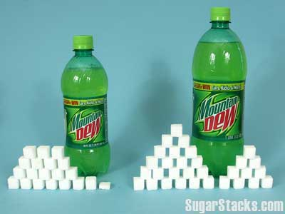 Mountain Dew 77g and 124g, respectively