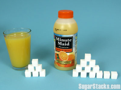 Orange Juice 24g per serving, 28g in a bottle